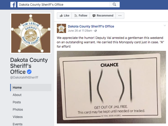 Image result for get out of jail free card dakota county sheriff