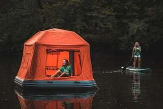 This floating tent lets you camp out on water